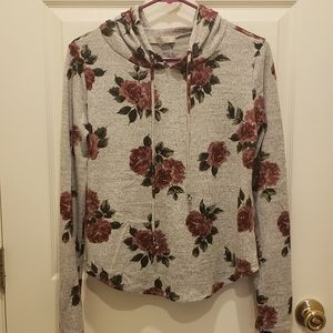 Heather Grey thin sweater with flowers